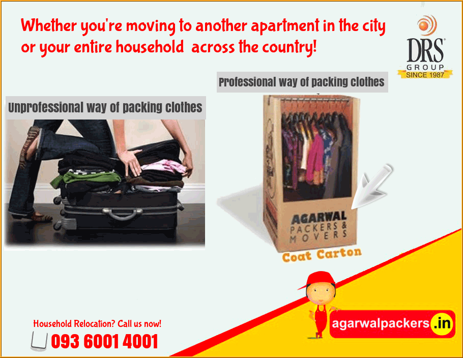 Professional way of packing clothes - Agarwal Packers and Movers